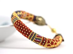 Bead Crochet bracelet is made of Japanese seed beads of superior quality - Miyuki: Red, Grey, Lilac, 24K Gold and Pink colors