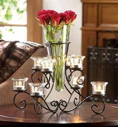 10 SCROLLWORK CANDLE STAND WITH VASE WEDDING EVENT CENTERPIECES…