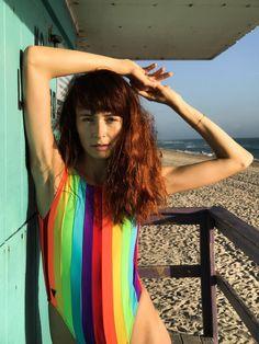 Photo shoot at the beach in Miami. Miami Beach, South Beach, Rainbow Swimsuit, Lifeguard, Swimsuits, Bikinis, Bikini Models, Photoshoot, Poses