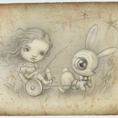 The Bunny Cart by Mark Ryden Editioned artwork | Art Collectorz: We recently collaborated with artist Mark Ryden to do an amazing, under-the-radar print to raise money for The David Sheldrick Wildlife Trust. We are offering these publicly so contact us RIGHT AWAY by email (not phone please) if you want one...we...