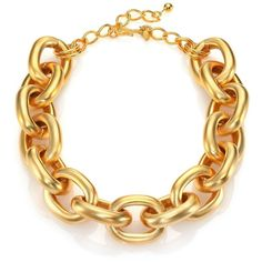 Kenneth Jay Lane Satin-Finish Medium Oval Link Necklace ($410) ❤ liked on Polyvore featuring jewelry, necklaces, apparel & accessories, gold, thick chain necklace, chains jewelry, clasp necklace, kenneth jay lane jewelry and kenneth jay lane necklace