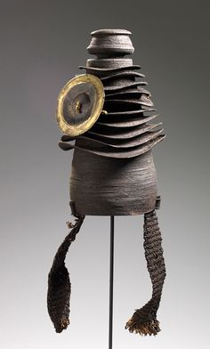 "Africa | Hat with Disc (""Botolo"") from the Sengele peoples of DR Congo 