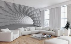 Effektvolle Wand- und Raumgestaltung mit Fototapete small-living room-modern-design-with-perspective photo wallpaper-in-white arkitektur Wallpaper For Home Wall, Design Living Room Wallpaper, 3d Wallpaper Design, 3d Wallpaper Mural, Living Room Designs, Wallpaper Ideas, Bedroom Wallpaper, Classy Wallpaper, Modern Wallpaper