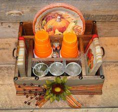Thanksgiving Table Caddy Napkin Holder Paper plate holder Utensil Holder Picnic Box & Khaki color with burlap ribbon and metal stars wood utensil ...