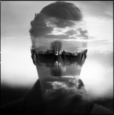 Analog Double Exposure Photographs by Florian Imgrund // (more faces that are almost not faces -jd) // #reflection