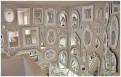 Not So Shabby - Shabby Chic: Mirror wall is almost complete. Decor, Wall Decor, Mirror Gallery Wall, Mirror Design Wall, Chic Decor, Home Decor, Vintage Mirrors, Mirror Decor, Shabby Chic Homes