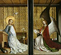 """Annunciation by Stefan Lochner. Altar of Three Magi, c. 1440, in Cologne Cathedral. Lochner was one of the last major painters working in the """"soft style"""" (weicher Stil) of the International Gothic tradition."""