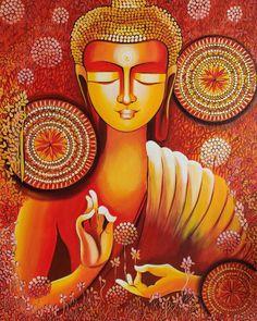 Budha Painting, Dot Art Painting, Buddha Kunst, Buddha Art, Religious Paintings, Indian Art Paintings, Art And Illustration, Save Earth Drawing, Joker Kunst