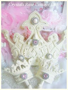 French Ivory Bed Crown Canopy Set Fleur De Lis by sweetlilboutique, $64.00
