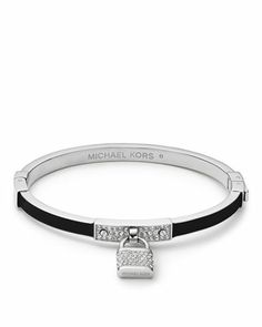 Michael Kors Pave Padlock Hinge Bangle, Silver Color/Black. One in every color please!!