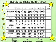 Great on-task chart for students who need help staying on-task.