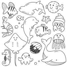 Sea animals doodle kawaii line art , Doodles Kawaii, Cute Doodles, Doodle Drawings, Easy Drawings, Drawing For Kids, Art For Kids, Griffonnages Kawaii, Doodles Bonitos, Cute Doodle Art