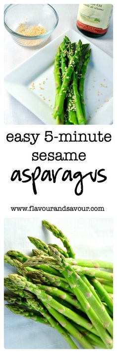 Easy 5-minute Sesame Asparagus side dish. Fresh and flavourful from Flavour and Savour