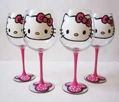 set of 4 - Hello Kitty Wine Glasses - Hand painted - pink stem 20 oz
