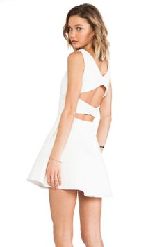 Line & Dot Lace Strap Back Dress in White