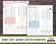 Baby Log 0-6 months Nanny Log Baby's Day by HoneyBeeOrganizing
