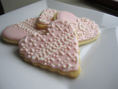 Valentine's Heart Shaped Cookies with Royal Icing Lace Designs (Three Styles). $21.50, via Etsy.