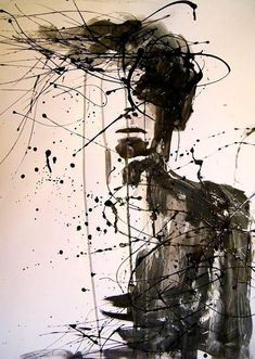Artist Unknown - half-formed human. ink splatters, lines, and splotches. fluidity and disintegration.