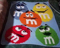 M&M Corner to Corner Crochet Graphghan by DunlapCowboyCrafts on Etsy Graph Crochet, Pixel Crochet, Crotchet Patterns, C2c Crochet, Love Crochet, Crochet Blanket Patterns, Knitting Patterns, Crochet Blankets, Corner To Corner Crochet