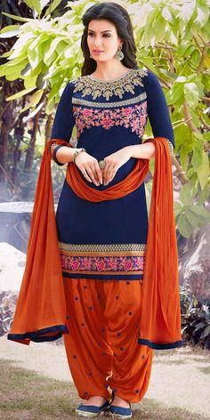 Splendid Navy Blue And Orange Cotton Patiala Suit.