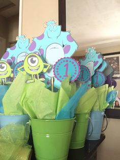 Center pieces, monsters inc, one year old Monster 1st Birthdays, Monster Inc Party, Monster Birthday Parties, 3rd Birthday Parties, 2nd Birthday, First Birthdays, Birthday Ideas, Monsters Inc Baby Shower, Monster Baby Showers