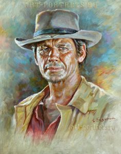 Celebrity oil paintings by Igor Kazarin Charles Bronson Portrait Painting. Artwork by Igor Kazarin. Oil on canvase Portraits From Photos, Portrait Images, Portrait Art, Oil Painting Trees, Oil Painting Abstract, Painting Flowers, Oil Paintings, Charles Bronson Art, Cowboy Art