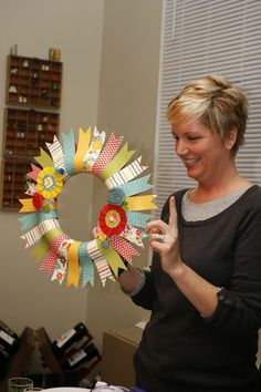 Ain't She Crafty: Neighborhood Craft Night - Paper Wreaths - Cute way to use leftover paper