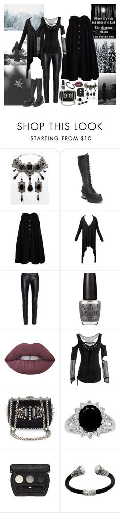 """""""I remember it was here I died"""" by jeanettebeatrice ❤ liked on Polyvore featuring New Rock, Dolce&Gabbana, Yves Saint Laurent, OPI, Lime Crime, Christian Louboutin, Laura Geller, NOVICA and 1928"""