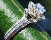 BLOOMING Work Of Art - Milgrain Flower Rose Lotus Diamond Engagement or Right Hand  Ring - Semi Mount - Setting - 14K white gold - fL07. $3,250.00, via Etsy.