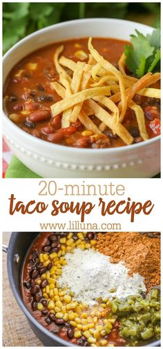 One of the EASIEST dinner recipes of all time! This super easy Taco Soup is made in 20 minutes and includes canned chili beans corn tomatoes and green chiles plus ranch dressing mix and taco seasoning. Quick And Easy Taco Soup Recipe, Easy Soup Recipes, Chili Recipes, Easy Dinner Recipes, Healthy Winter Recipes, Chicken Recipes, Healthy Food, Crock Pot Tacos, Slow Cooker Tacos