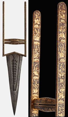 Indian katar, 17th to 18th c, double edged steel blade, triangular frame with a pearled edge and a central decoration of feathers in a line, made of chisel and high-relief, hilt with an arabesque decoration, floral motifs and a pair of Japanese pagoda in gold koftgari, scabbard metal covered completely pierced through making a pattern of engraved and silver incrusted foliage with two gold incrusted birds at the centre of the composition.  Full Length: 39, 5 cm; Blade Length: 22, 5.