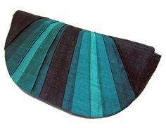 Peacock Pleated Silk Clutch Purse. $60.00, via Etsy.