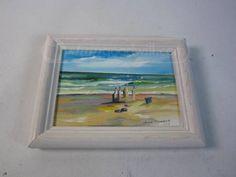 Framed Sandcastle Oil Painting $5