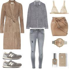 #fashionset  #outfit #fashion #grey #casual #suedecoat #NewBalance #tbyalexanderwang #gestuz