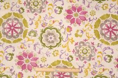 Mill Creek Renette Printed Cotton Drapery Fabric in Lilac - green, fuschia, brown, lavender, taupe
