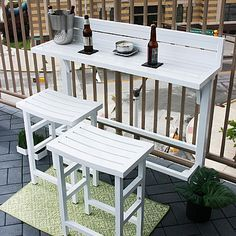 MIYU Furniture 3-piece Balcony Bar – Lily –