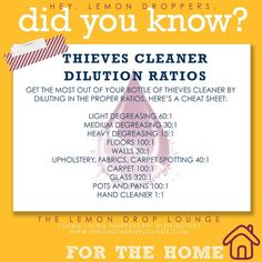 How to use the Thieves cleaner from Young Living. The bottle may seem expensive, but you dilute it in water. Then you're talking dozens of bottles of cleaners in one! Dilution ratios for cleaning.