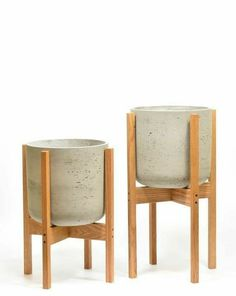 Modern Planters, Large Planters, Flower Planters, Diy Planters, Flower Pots, Planter Pots, Flowers, Modern Plant Stand, Wood Plant Stand