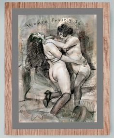 Women in ecstasy, apparently. Hand finished print mounted on wood board. Approximately 13 inches by 10 inches, and usually a 1 inch border.