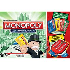 Wheel and deal your way to a fortune even faster using debit cards instead of cash! With Monopoly Electronic Banking, all it takes is a card swipe for millions to change hands. Now you can collect rent, buy properties and pay fines the fast and easy way! It's a new way to play a family classic that's been brought up-to-date with exclusive tokens, 4 cool bank cards, and higher property values! Monopoly and all related characters are trademarks of Hasbro.
