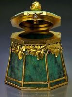 *GOLD MOUNTED AMOZONITE SMALL BOX ~ by the firm of Bolin, jeweler of the Imperial Court, workmaster Ivan Antonovich Flink. The body is carved from a single piece of amazonite + applied w/ stylized finely chased gold trees in Art Nouveau taste. The gold trees are set w/ tiny rubies + rose cut diamonds.