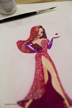 disney painting Jessica Rabbit gouache who framed roger rabbit liana hee
