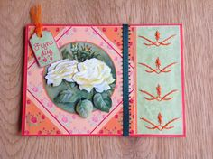 Orange & green 3D card with white roses and embroidery - Oranje en groene 3D kaart met witte rozen en borduurwerk