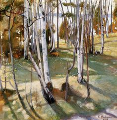 The Life and Art of Pekka Halonen – Alternative Finland Scandinavian Paintings, Scandinavian Art, Romanticism Paintings, Helsinki, Russian Painting, Nordic Art, Canadian Art, Tree Art, Art Music