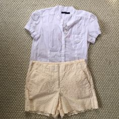 LOFT Eyelet Lace Shorts with Scalloped Edging LOFT Eyelet Lace shorts with Scalloped Edging. Beautiful pastel yellow cream shorts perfect for spring! LOFT Shorts