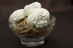 Gesztenyepüré (chestnut puree topped with whipped cream; I think it's gross but my parents and relatives love it)