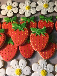 Decorated Strawberry Cookies - Strawberry Sugar Cookies - Cookie Gift - Sugar Cookies - Flower Cookies - Thank you Gift - Custom Cookies Summer Cookies, Fancy Cookies, Valentine Cookies, Iced Cookies, Cut Out Cookies, Cute Cookies, Royal Icing Cookies, Birthday Cookies, Cookies Et Biscuits