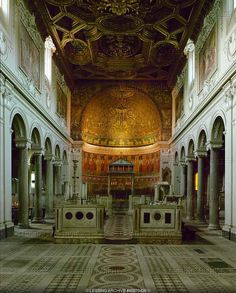 Nave of the church San Clemente, consecrated in 1108. Rome, Italy