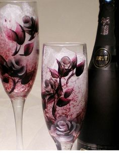 Personalized Champagne Toasting Flutes - Hand Painted Deep Purple and Silver Roses, Set of 2 - Winter Wedding Party Bridesmaid Glass