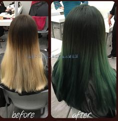 Ombre is so much more fun with cool colors! We love this dark green ombre, perfect way to try out a different color and also have it blend #elumen #greenombre #darkgreen